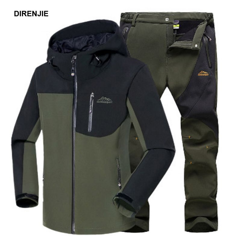 Men Winter Waterproof Fish Climb Camp Ski Trekking Hiking Fleece SoftShell Outdoor Jackets Pants Set Hood Trousers 5XL Oversized