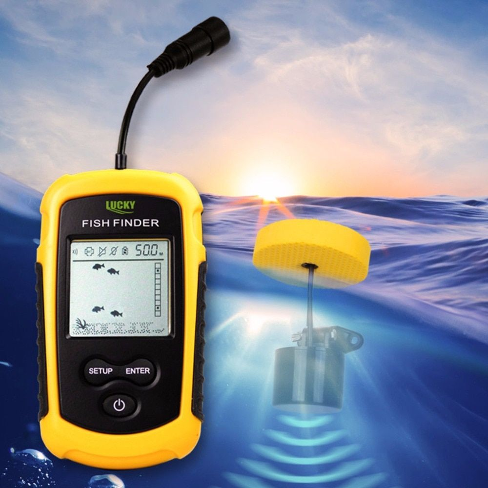 Lucky Portable Fish Finder Sonar Sounder Alarm Transducer Fishfinder 0.7-100m Fishing Echo Sounder With English Display