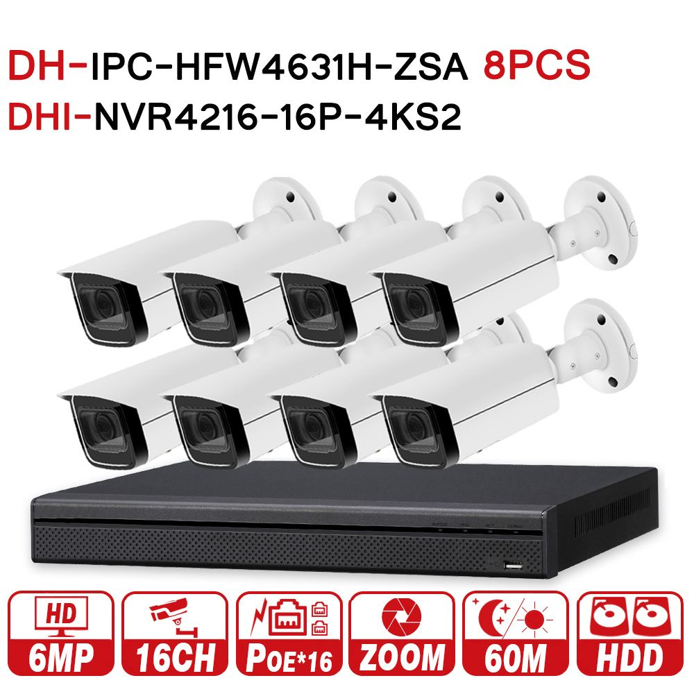 DH Security CCTV System 8PCS 6MP Zoom IP Camera IPC-HFW4631H-ZSA & 16POE 4K NVR NVR4216-16P-4KS2 Surveillance Security System