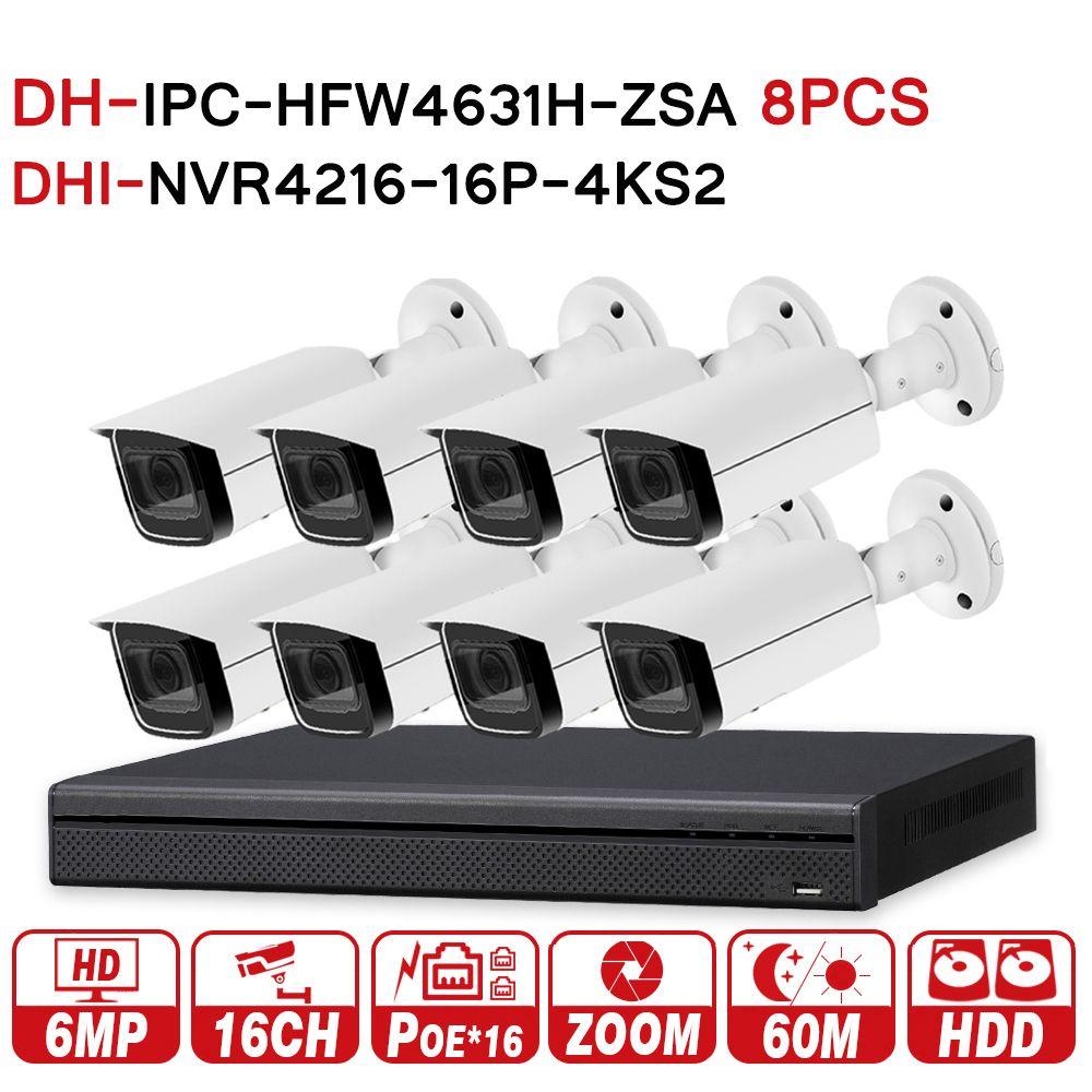 DH Sicherheit CCTV-System 8 stücke 6MP Zoom IP Kamera IPC-HFW4631H-ZSA & 16POE 4 karat NVR NVR4216-16P-4KS2 Überwachung Sicherheit System