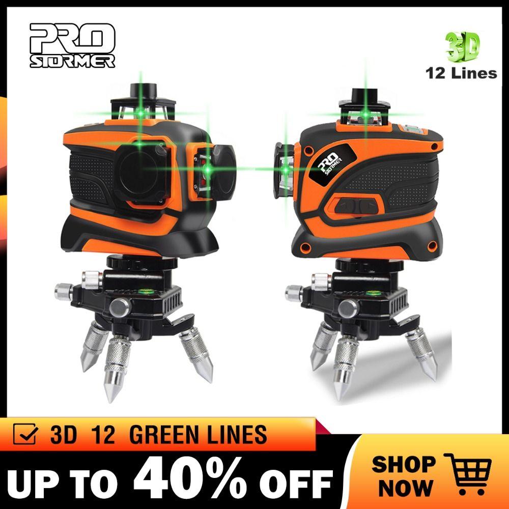 Prostormer 12 Lines 3D Laser Level 360 Green Line Set Self-Leveling Nivel A Laser Level 12 Line 3d 360 Vertical And Horizontal