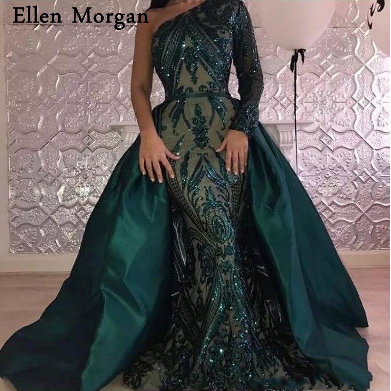 Saudi Arabia Long Sleeves Mermaid Evening Dresses 2018 Dubai Kaftan Muslim Dark Green Glitter Fabric Party Gowns for Women Wear