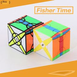 MoYu Yileng Waktu Roda Fisher Cube Magic Cube Puzzle Mainan untuk Kompetisi Hitam Aneh-bentuk Putar Stickerless Kubus
