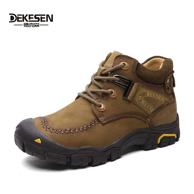 DEKESEN Antidesgaste Hombres Invierno Botas de Tobillo Zapatos de Invierno de Nieve Botas de Cuero Genuino Impermeable Al Aire Libre de Los Hombres Anti-frío Más Tamaño 45