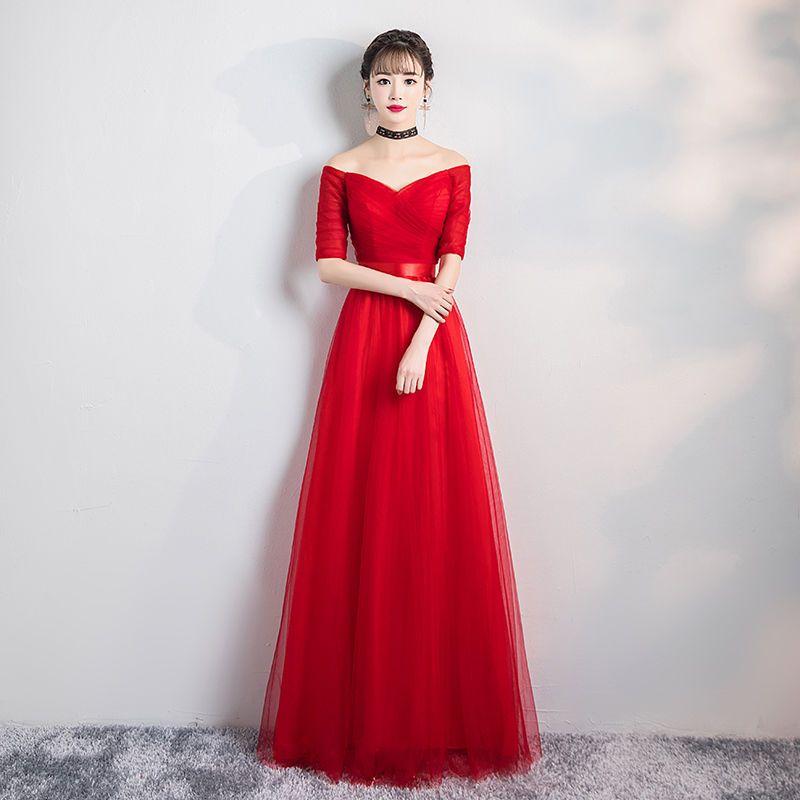 Col en v rouge longue bourgogne pas cher robe De demoiselle d'honneur pour la fête De mariage pour femme robe De bal hors De l'épaule Vestido Da Dama De Honra