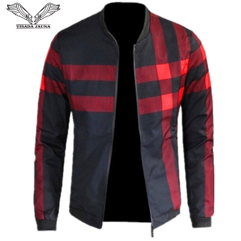 VISADA JAUNA 2017 New Arrival Men's Jackets Patchwork Casual Brand Clothing <font><b>Stand</b></font> Collar Long Sleeve Male Outwear 5XL N1183