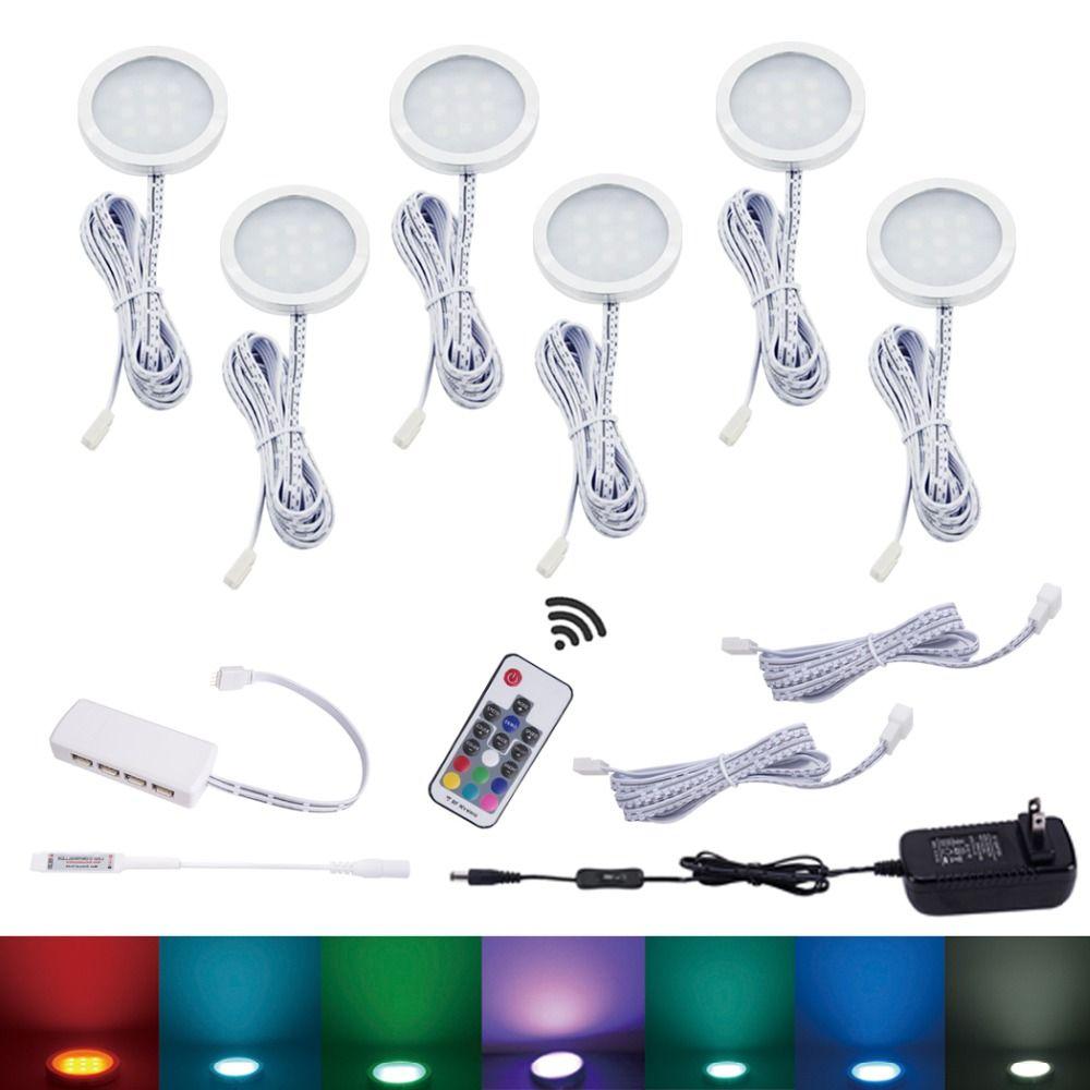 AIBOO LED armoire lumière 6 RGB lampe couleur changeante Puck lumières Dimmable sous étagère cuisine comptoir meubles éclairage