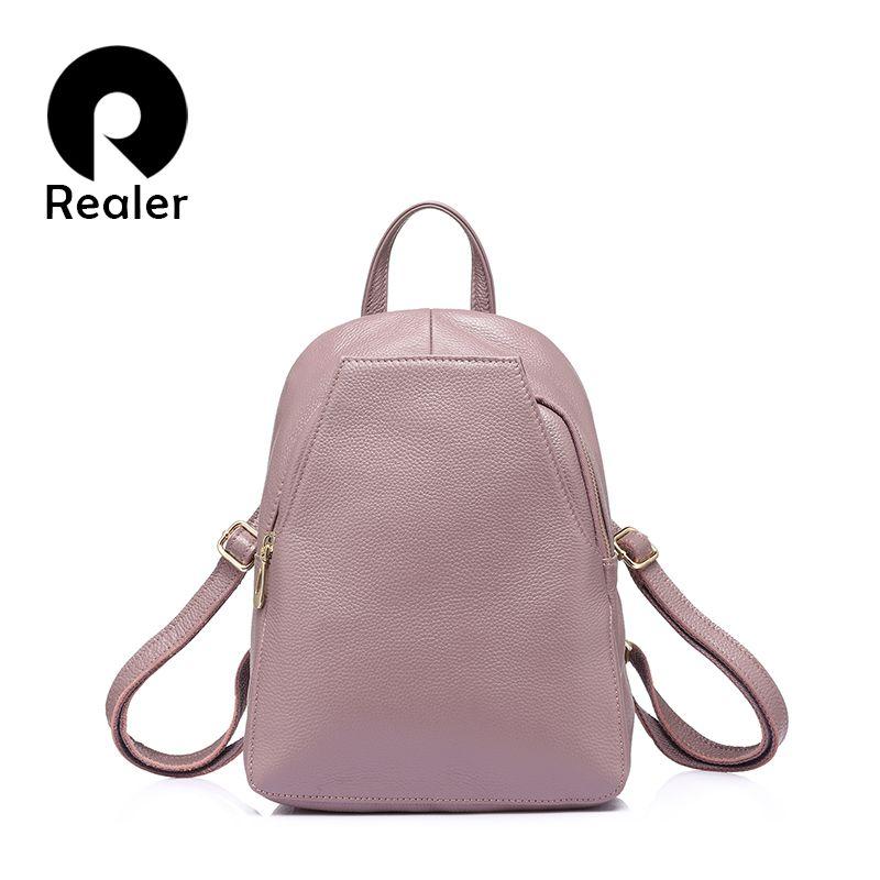 PLUS RÉEL mode femmes en cuir véritable sacs à dos pour fille de haute qualité épaule femelle sacs adolescents cartable mochila petit fille