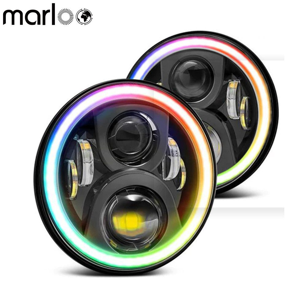 Marloo 7Inch Round Project Daymaker LED Headlights RGB Halo For Jeep Wrangler JK Bluetooth Phone APP Control Jeep Headlights