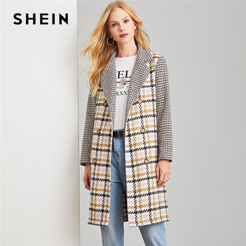 SHEIN Multicolor Office Lady Elegant Double Breasted Notched Neck Plaid Coat Autumn Modern Lady Workwear Women Coats Outerwear