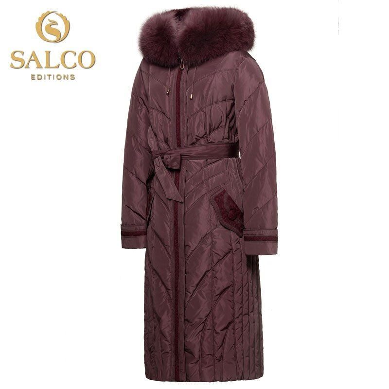 SALCO Free shipping new European and American fashion fox collar Nagymaros yards Ms. Long Hooded Down