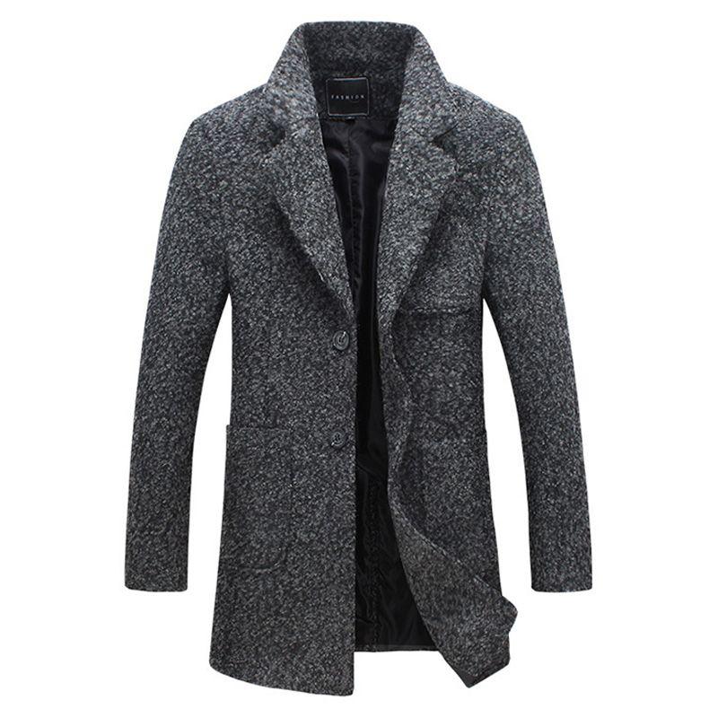 2017 autumn men dust coat woolen overcoat slim fit outwear 2 colors M-5XL AYG118