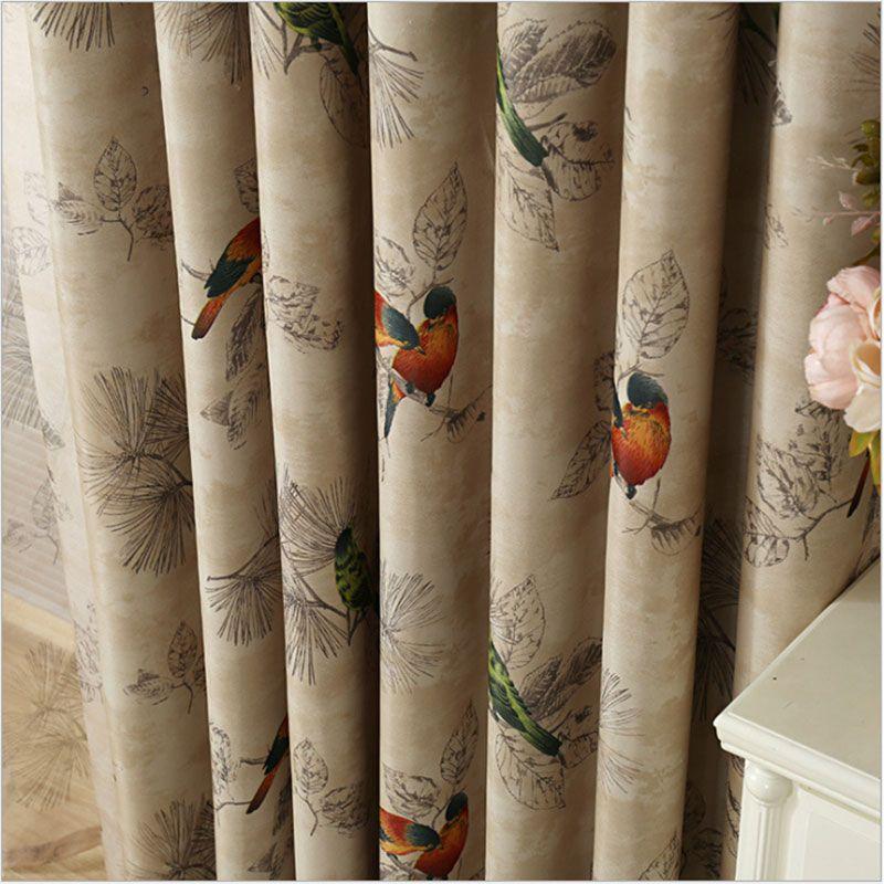 Rideaux occultants pour salon américain rustique décoratif cuisine fenêtre oiseaux imprimé chambre rideaux panneau (A123)