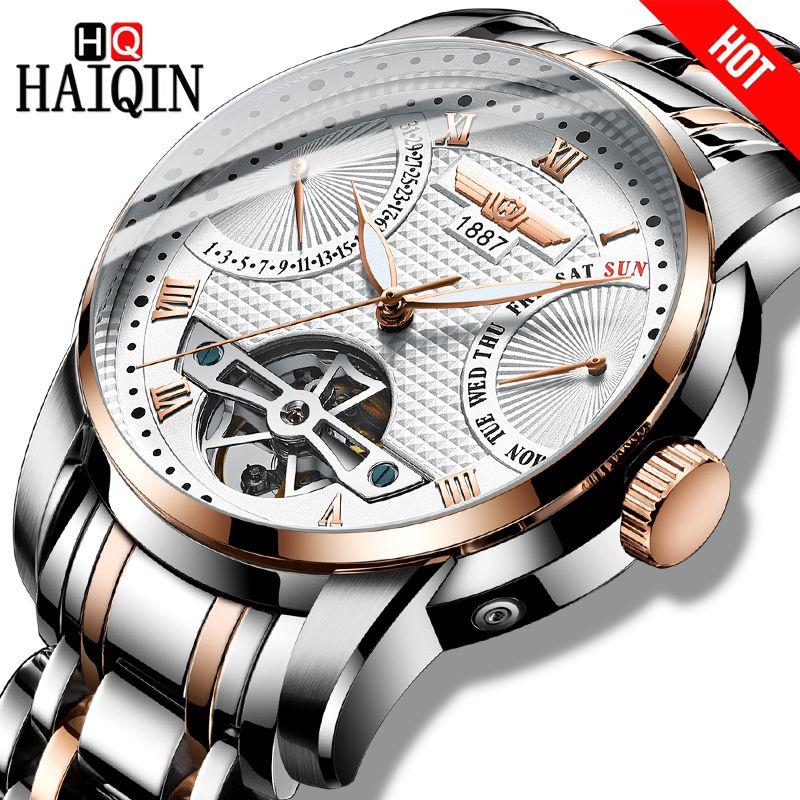 HAIQIN herren uhren Herren Uhren top-marke luxus Automatische mechanische sport uhr männer wirstwatch Tourbillon Reloj hombres 2018