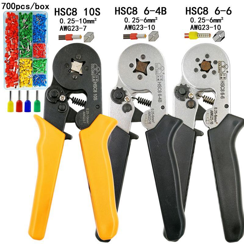 COULEURS HSC8 10 s 0.25-10mm2 pince à sertir HSC8 6-4 HSC8 6-6 0.25-6mm2 mini ronde nez pince tube aiguille bornes boîte outils