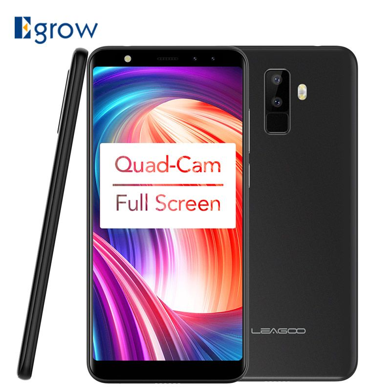 Leagoo M9 5.5 18:9 Full Screen Four-Cams Android 7.0 MT6580A Quad Core 2GB RAM 16GB ROM 8.0MP Fingerprint 3G WCDMA Mobile Phone
