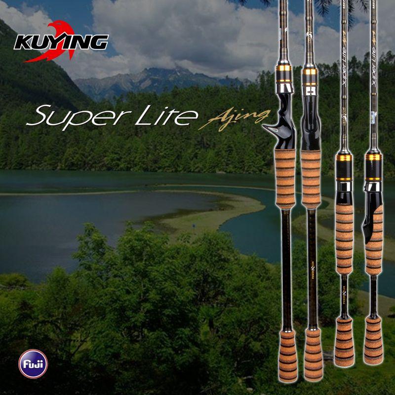 KUYING SuperLite 2,1 2,28 2,58 mt Locken Kohlenstoff Casting Spinning Angelrute FUJI Teil Mittelschnelle Aktion Untere Fische Stick Pole