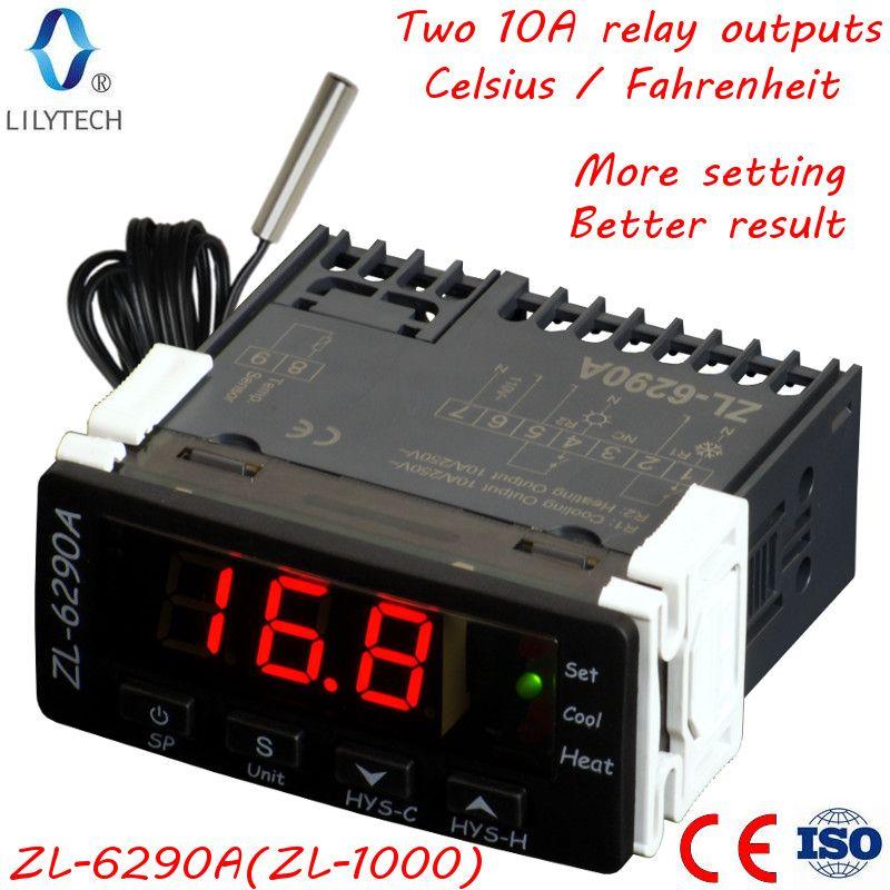 ZL-6290A, (ZL-1000); Celsius Fahrenheit; Similaire à STC-1000, ITC-1000; Double 10A sortie relais thermostat