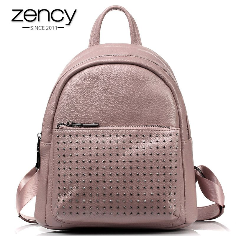 New Arrival 100% Real Cowhide Genuine Leather Women Backpack Rivet Ladies Casual Fashion Design For Girl School Bag Solid