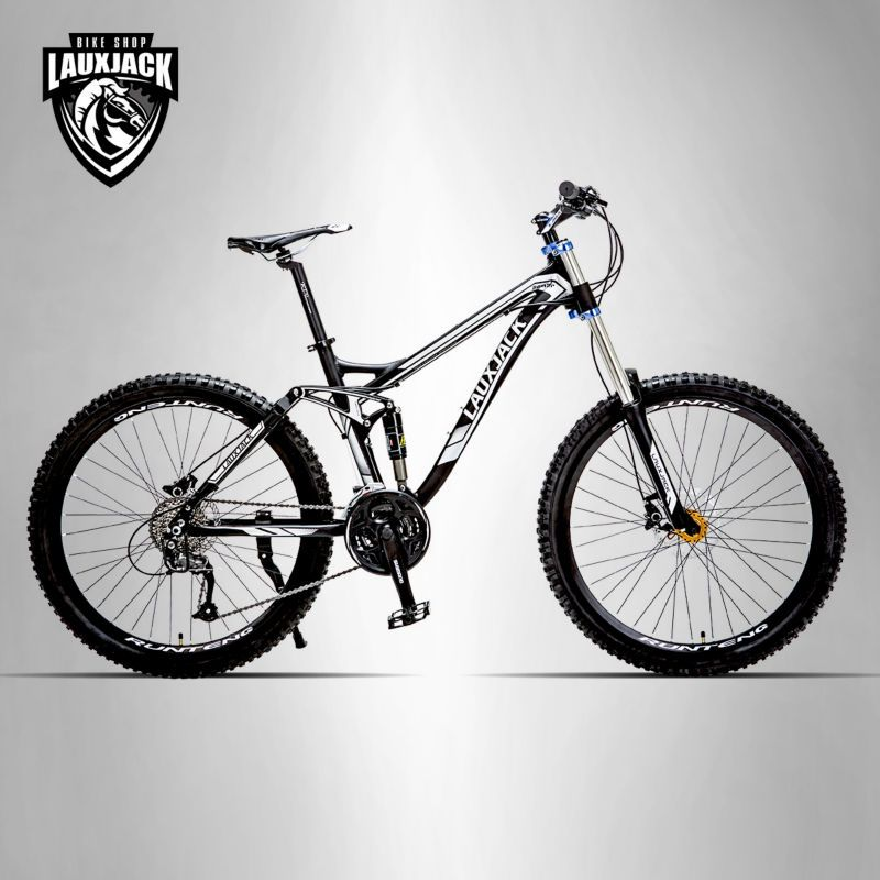 LAUXJACK Mountainbike Full Suspension Aluminium Rahmen 24/27 Geschwindigkeit Hydraulische/Mechaniker Bremse 26 Rad Shimano Altus