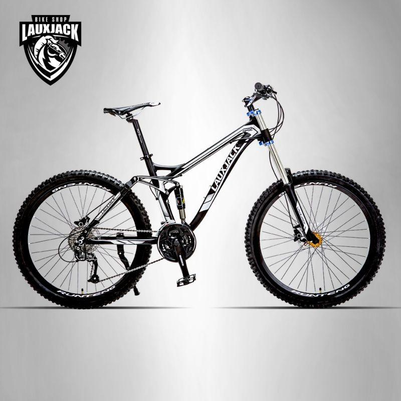 LAUXJACK Mountainbike Full Suspension Aluminium Rahmen 24/27 Geschwindigkeit Hydraulische/Mechaniker Bremse 26