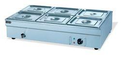 Bain-marie listrik 6 panci stainless steel, 1.8kw hotel meja makanan hangat, peralatan dapur makanan pemanas dengan air tekan