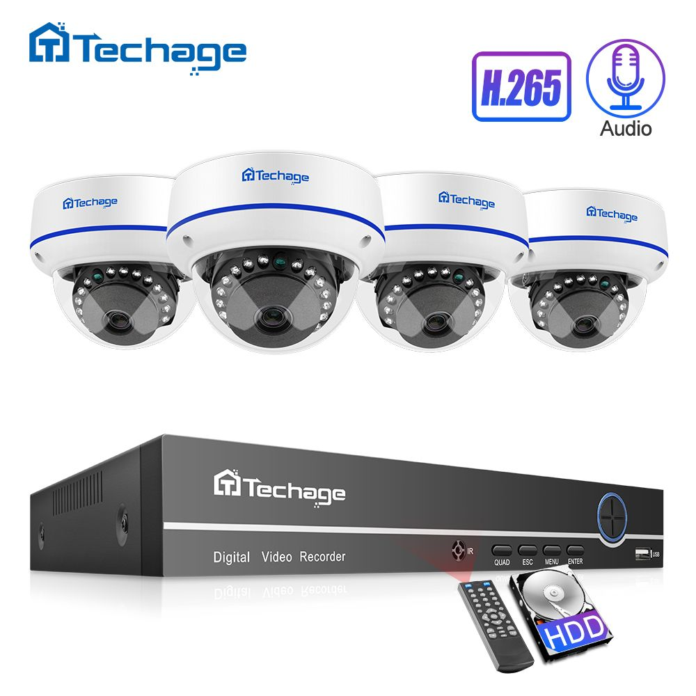 H.265 CCTV Sicherheit System 8CH 1080 P POE NVR Kit 2.0MP Outdoor Indoor Dome Audio Sound IP Kamera P2P Video überwachung Set