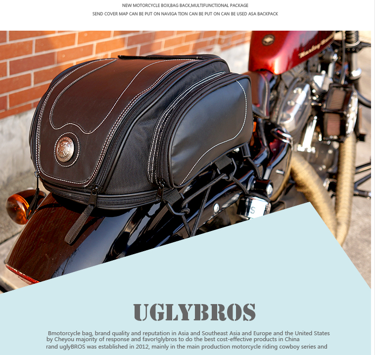 Free Shipping 2019 uglyUROS motorcycle retro Back seat bag 883modified car multi-function kit bag moto bag with waterproof cover