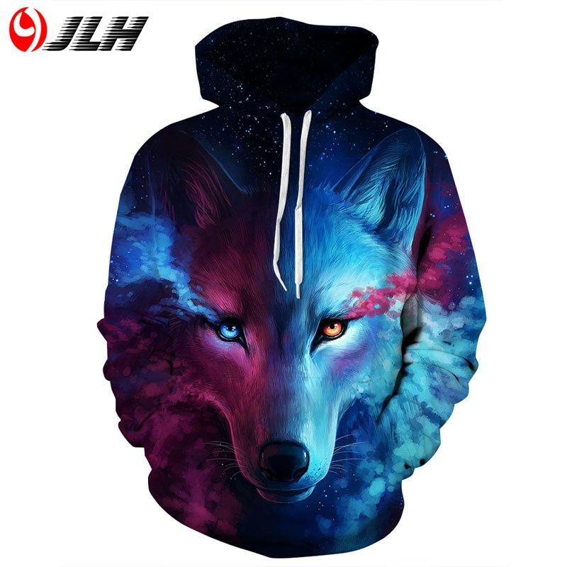 JLH Sweatshirt 3d Hoodies Männer Sweatshirts Mens Hoodies für Männer 3D Druck Wolf/skeleton/tiger/lion Mit Kapuze street Hip Hop