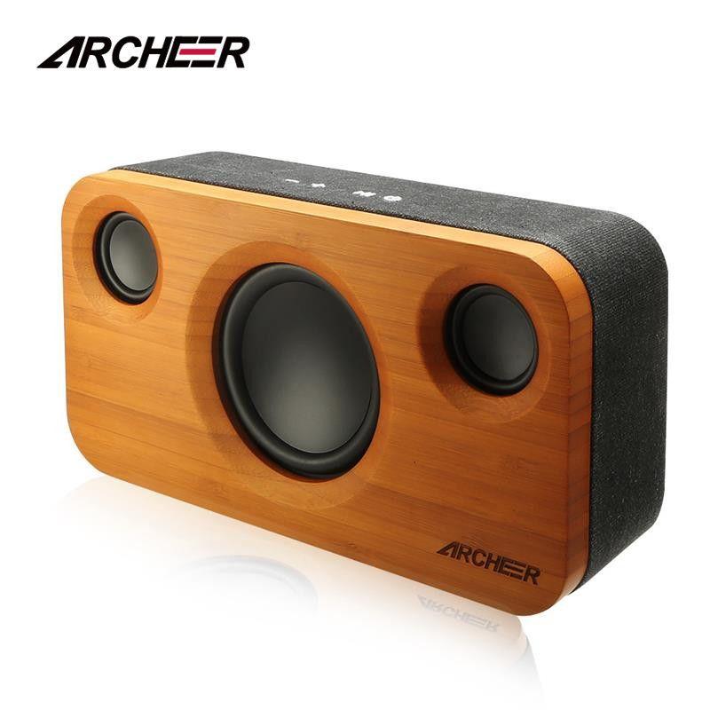 100% Archeer En Bois Haut-parleurs Bluetooth Incroyable 2.1 Canaux Sound Bambou Stéréo Haut-Parleur Double Intégré Haut-parleurs Renforcée Stade