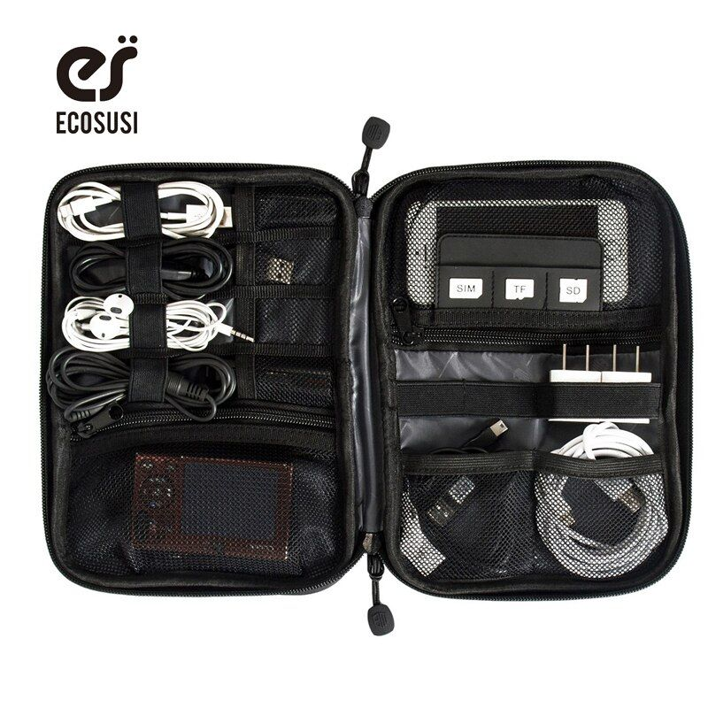 Ecosusi impermeable viaje Alambres bolsa Disco Duro electrónica tarjeta SD USB datos cable digital bolsa