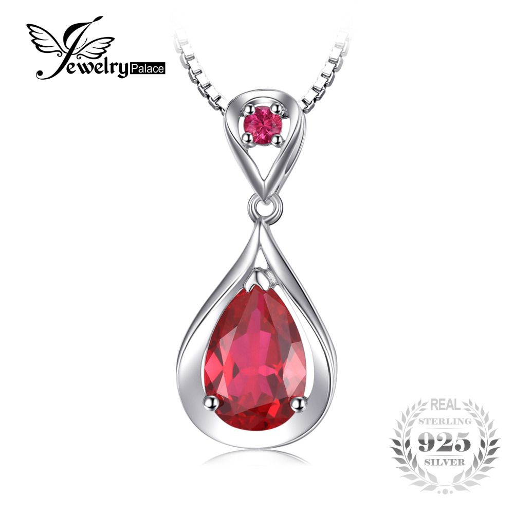 JewelryPalace Water Drop 4ct Created Red Ruby Pendant Anniversary 925 Sterling Silver For Women Fine Jewelry Without a Chain