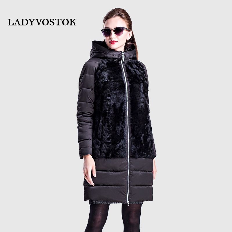LADYVOSTOK autumn winter Long hooded jacket zip Casual clothes plus size fur of lambs Model Furskins Warm 16-752A