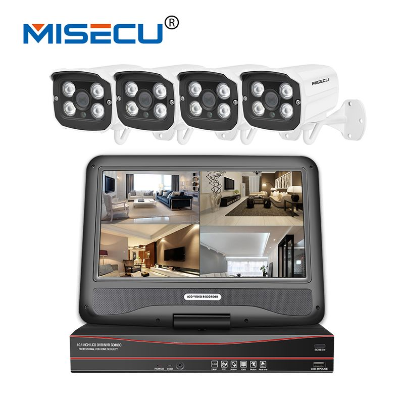 MISECU 48V POE NVR With 10.1'' LCD Monitor 1080P HDMI 4 array IR Led outdoor cameras CCTV Security Surveillance