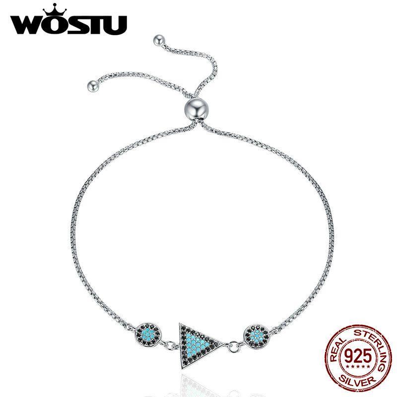 WOSTU 925 Sterling Pure Silver Triangle Geometric CZ Chain Link Adjustable Bracelet For Women Fine S925 Silver Jewelry CQB039
