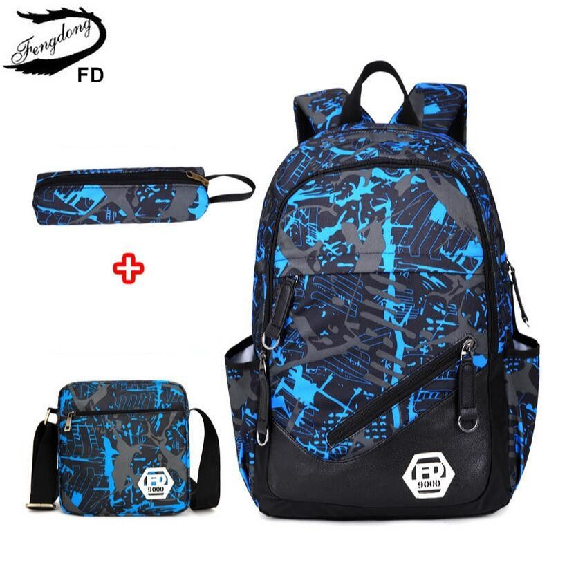 FengDong waterproof oxford fabric boys school bags backpack for teenagers pencil case blue book bag boy one shoulder schoolbag