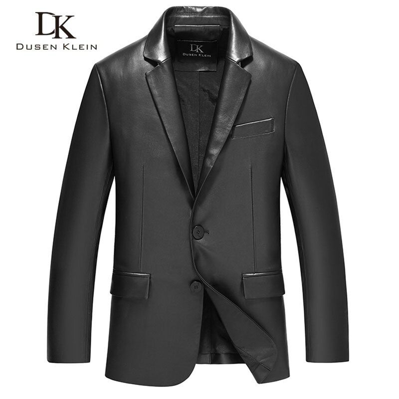 Herren schaffell mäntel leder Anzug kleidung Schwarz Dusen Klein Marke neue 2017 echtem leder Dünne/Business männlichen jacke 71C17017