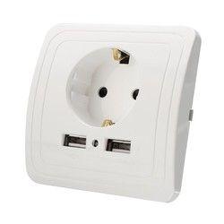 Best Dual USB Порты и разъёмы 2000mA стены Зарядное устройство адаптер ЕС Стандартный розетка Мощность Outlet Панель