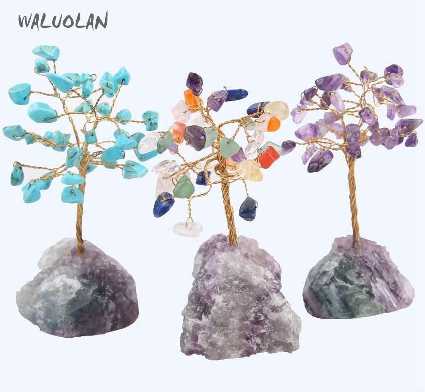 WALUOLAN 8 CM de haut cristal argent chanceux pierre arbre Figurine ornements Feng Shui pour la richesse et la chance maison bureau décor cadeau de naissance