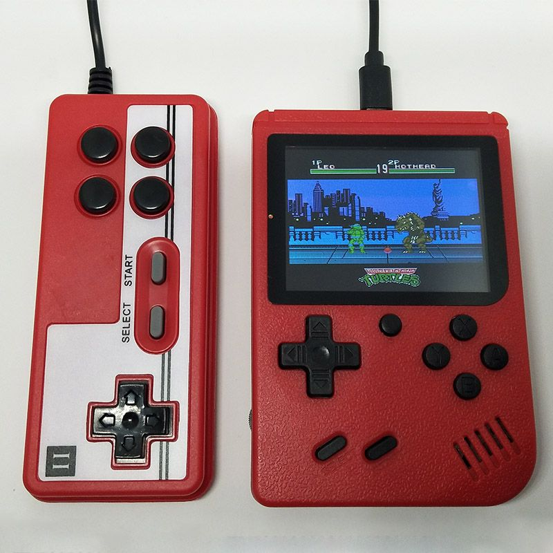 Intégré 400 jeux 1000 mAh batterie rétro vidéo Console de jeu portable + manette 2 joueurs Doubles 3.0 pouces couleur LCD lecteur de jeu