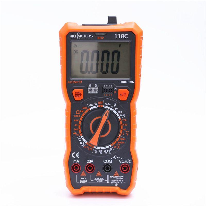 RICHMETERS 118C 20A Digital Multimeter 6000 Counts NCV HFE True-RMS 100mF capacitance Magnet AC/DC Voltage Current Temperature