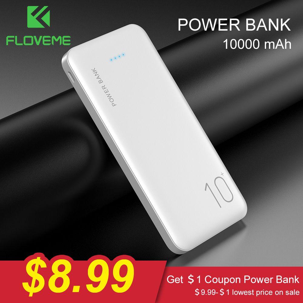 FLOVEME batterie externe 10000 mAh Chargeur Portable Pour Samsung Xiao mi mi Externe Mobile chargeur de batterie Portable 10000 mAh Poverbank Téléphone