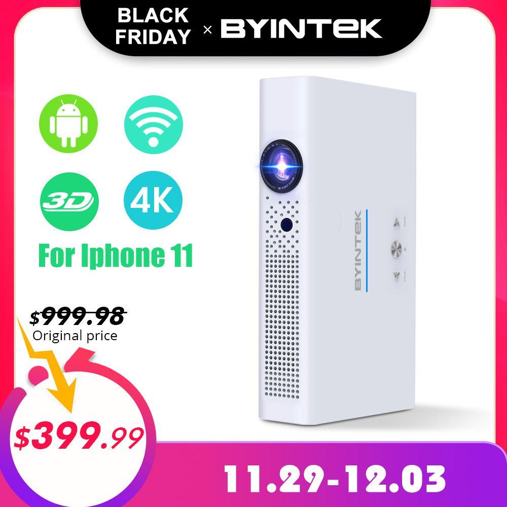 BYINTEK Marke UFO R19 300 zoll 3D Smart Android WIFI Video LED Tragbare Mini HD DLP Projektor für Full HD 1080P HDMI 4K Iphone 11