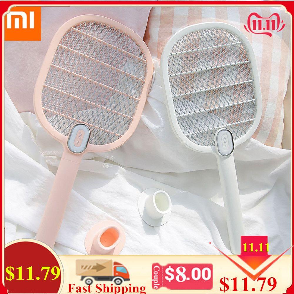 Xiaomi Mijia Elektrische Moskito-klatsche Wiederaufladbare LED Elektrische Insekten Bug Fly Moskito Dispeller Mörder Schläger 3-Schicht Net