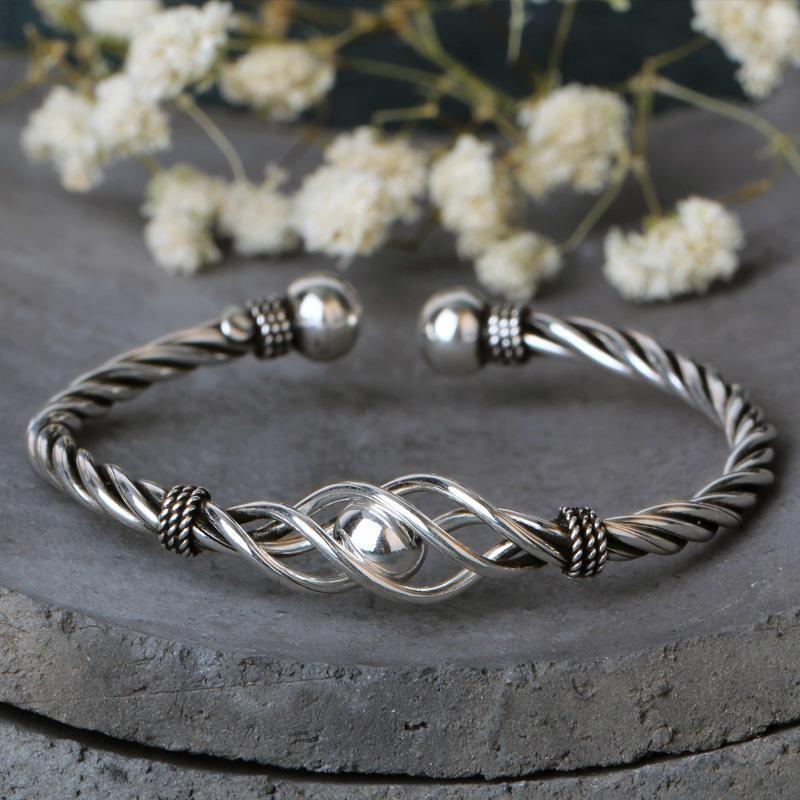 Fyla Mode réel pur 100% 925 Bracelets en argent Sterling femmes Bracelets torsadé corde Bracelet Vintage mariage Bracelet réglable