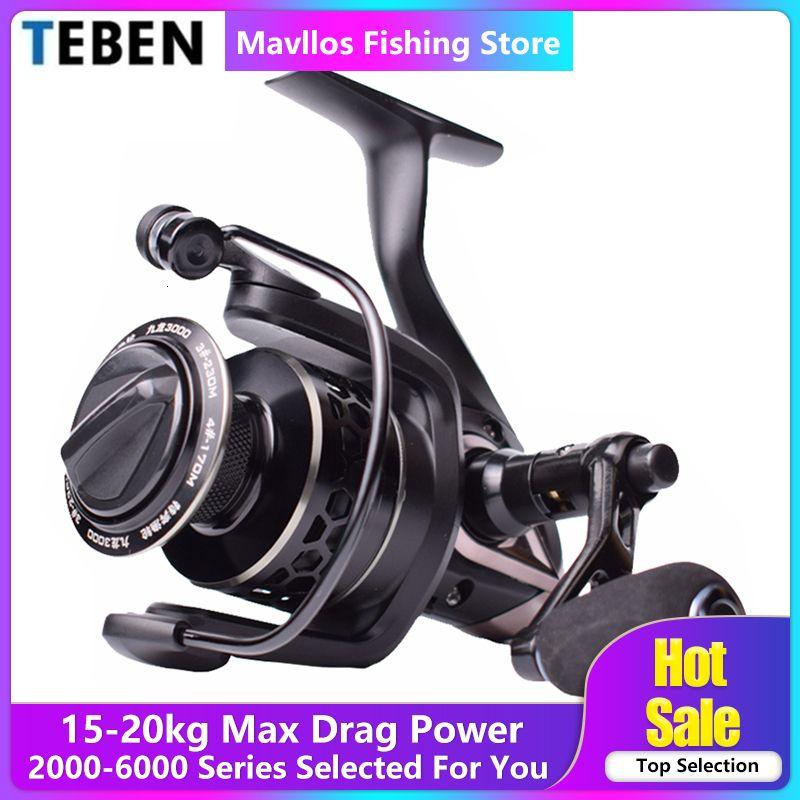 Teben Kowloon Freshwater Carp Spinning Fishing Reel Saltwater Max Drag 15-20kg Surf Jigging Spinning Reel 3000 6000 Metal Handle
