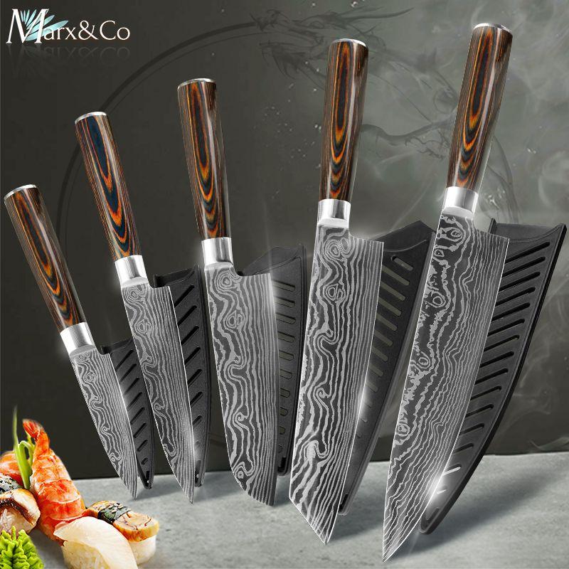 Couteau de cuisine couteaux de Chef 7CR17 440C japonais acier inoxydable à haute teneur en carbone damas dessin utilitaire tranchage couteau à viande Santoku