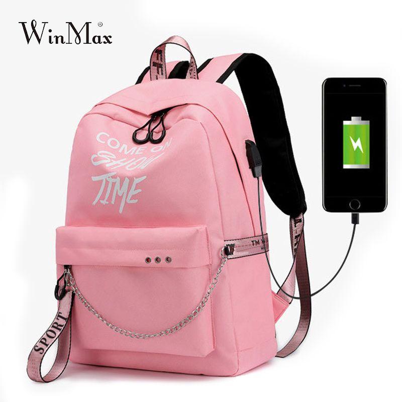 Winmax lumineux USB Charge femmes Sac à Dos mode lettres imprimer cartable adolescent filles rubans Sac à Dos Mochila Sac A Dos