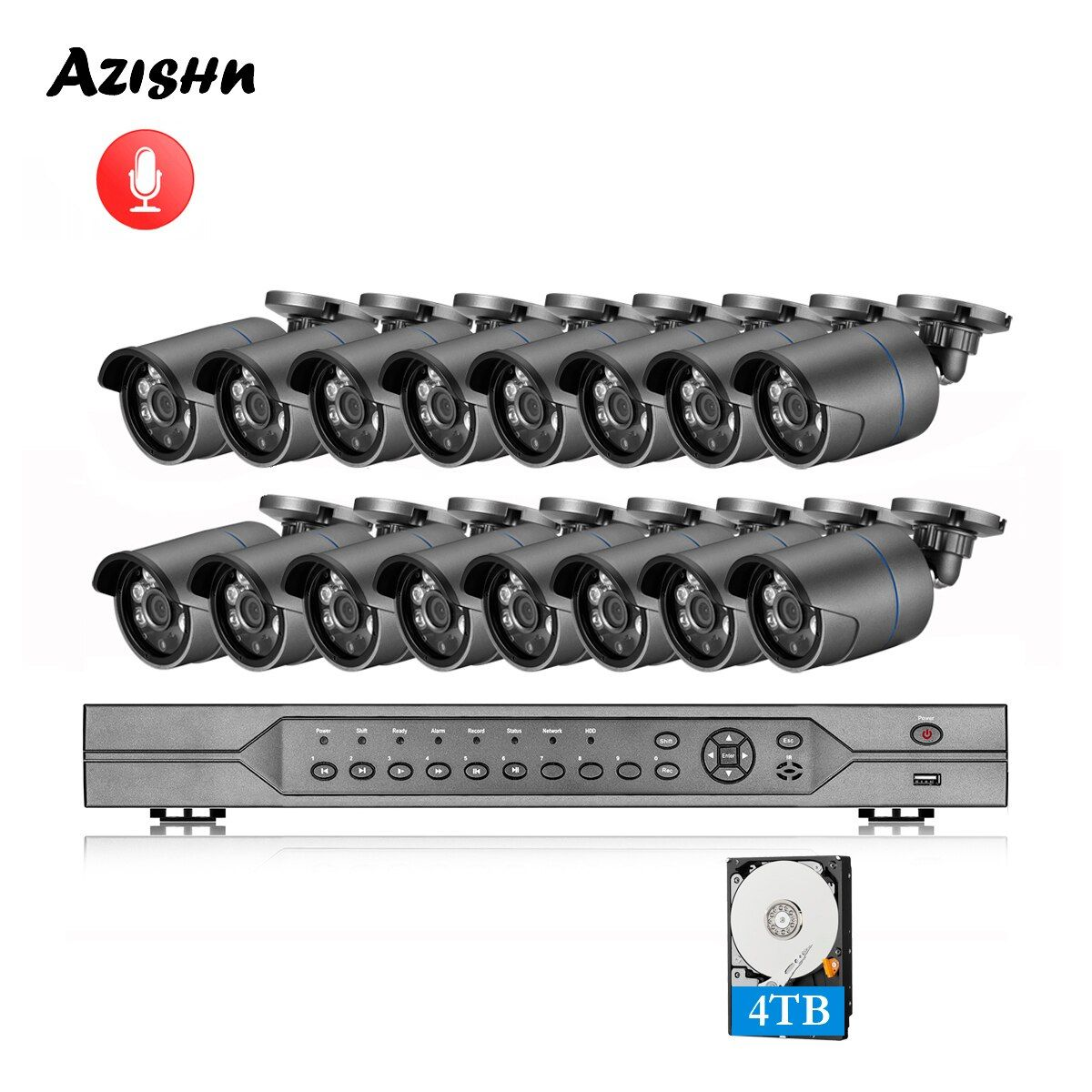 AZISHN H.265 16CH POE NVR Kit 4MP CCTV Kamera System 4MP Im Freien Wasserdichte Audio IP Kamera POE Sicherheit Video Überwachung set