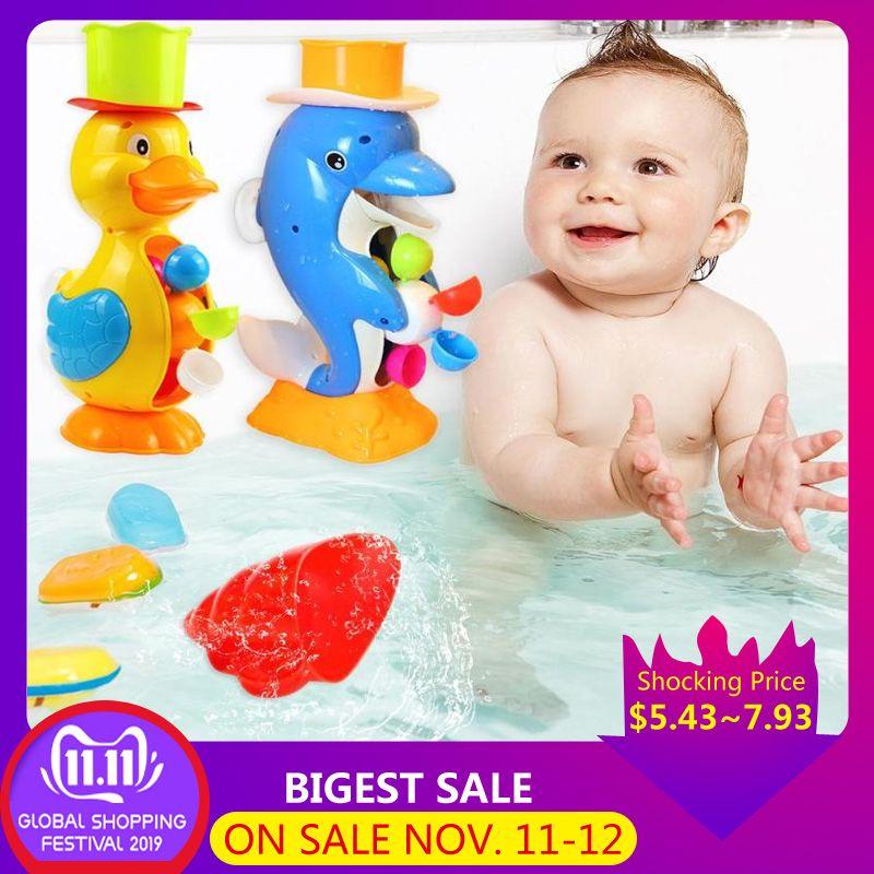 Kids Shower Bath Toys Cute Duck Waterwheel Dolphin Toys Baby Faucet Bathing Cartoon Animal Waterwheel Baby Faucet Bathing Toy